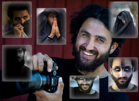 Variert: Habib Haleem og noen av selvportrettene han har tatt. For han er det viktig at bildene skiller seg ut, enten han er foran eller bak kameraet.
