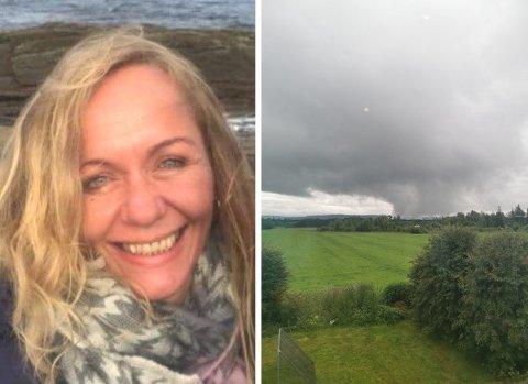 FANGET FENOMEN: Sif Brustad fra Kløfta observerte ei skypumpe fra stuevinduet tirsdag. – Et artig og merkverdig fenomen, sier hun.