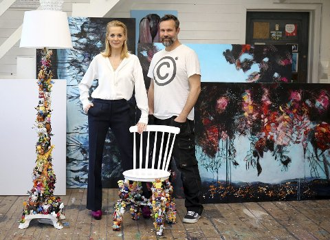 Setter dagsorden: Det kreative og sterke kunstnerparet Gunnilla Holm Platou og Eivind Stoud Platou åpner utstillingen Kuriosa på galleri Fineart på Tjuvholmen. Pressefoto