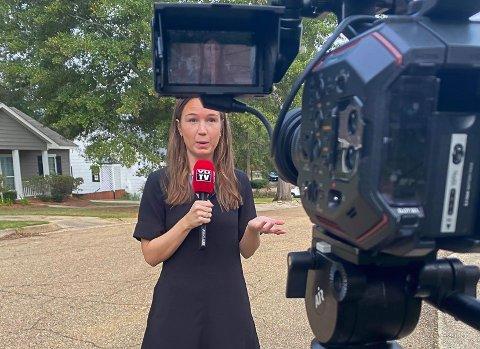 PÅ DIREKTEN: Natalie Rømøe Hansen (30) har de siste ukene reist rundt i USA for å dekke presidentvalget. Tirsdag kan du følge henne og kollegaene i VG når de sender direkte fra valget i vippestaten Texas