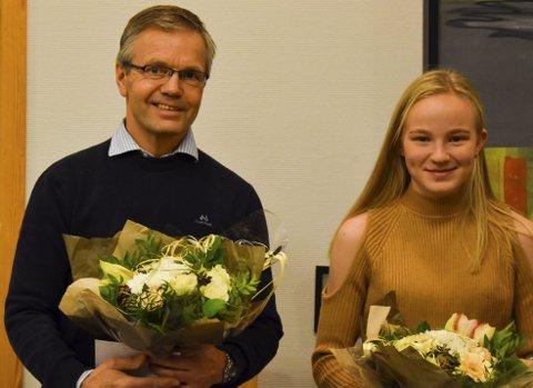 Ambassadører for Trøgstad: VM-mester Ole Andreas Skatvedt og NM-mester Mari Andreassen Rud. Tirsdag ble de hedret i kommunestyret.