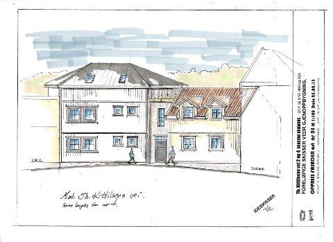 NYE BYGG: Slik kan de nye bygningene bli seende ut fra Th. Kittelsens vei. Utbyggerne vil bruke materialer i tråd med den eksisterende bebyggelsen i området.