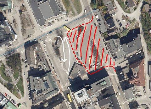 HER: Det skraverte området (rødt) er stedet hvor det skal jobbes, de hvite pilene viser retningen bussene kjører.
