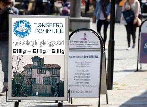 NEI TIL LØSFORREKLAME: Selv ikke reklame for billig saksbehandling i Tønsberg kommune skal settes ut på gata. Administrasjonen er ikke helt uten selvironi i sin illustrasjon til saken om løsfotreklame.