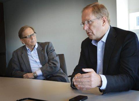 Store forskjeller: Det skiller en halv million på inntektene til  ordførerne Roar Jonstang (H) i Færder (til venstre), tønsbergordfører Petter Berg (H).