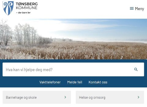 NYE NETTSIDER: Dette er synet som møter det nå, enten du klikker deg inn på Re eller Tønsberg kommunes nettsider.