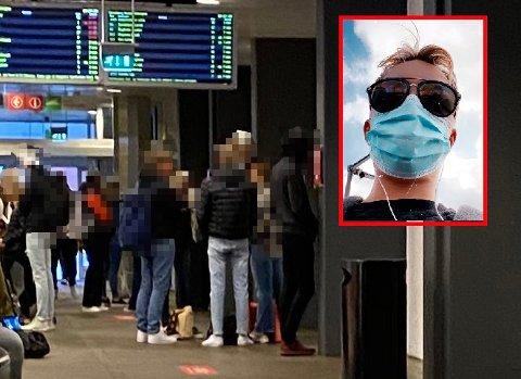 OPPRØRT: Mathias Henriksen ankom Tønsberg med toget fredag. Helt fra Oslo hadde han brukt maske. Det som møtte han på VKT skremte han. Bildet fra VKT er ikke tatt fredag 2. oktober, og er kun ment som en illustrasjon av området det er snakk om.