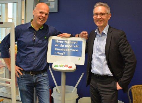 Butikksjef OButikksjef Ole Jonas Kverndal (tv) og Frank Rune Røvde, som er leder for alle de 63 franchise-butikkene i Elkjøp-kjeden.le Jonas Kverndal (tv) og Frank Rune Røvde, som er leder for alle de 63 franchise-butikkene i Elkjøp-kjeden.