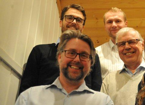 MYE AV HOVEDSTYRET ANNO 2017-2020: Sverre Torjuul og Ragnar Præsttun (foran), samt Kristian Bjerke (bak t.v.) ga seg alle på årets årsmøte i NIL, selv om flere av dem ønsket å fortsette.  Tidligere markedsansvarlig Arne Johan Valen-Senstad (bak t.h.) kom også med en advarsel da han syntes det var tendenser til litt mye egotenkning internt i gruppene i idrettslaget.
