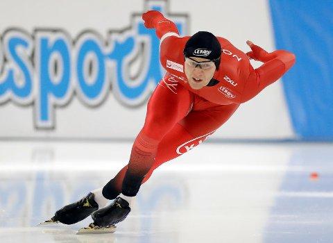 Håvard Holmefjord Lorentzen tok 7.-plass på 500 meter i VM enkeltdistanser på OL-banen i Sør-Korea fredag. (Foto: Michael Sohn/AP/NTB scanpix)
