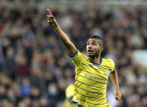 Sheffield Wednesday's Lewis McGugan celebrates his goal during the English League Cup third round soccer match between Newcastle United and Sheffield Wednesday at St James' Park, Newcastle, England, Wednesday, Sept. 23, 2015. (AP Photo/Scott Heppell)