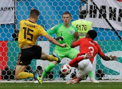 Thomas Meunier scoret Belgias første mål allerede før fire minutter var gått.