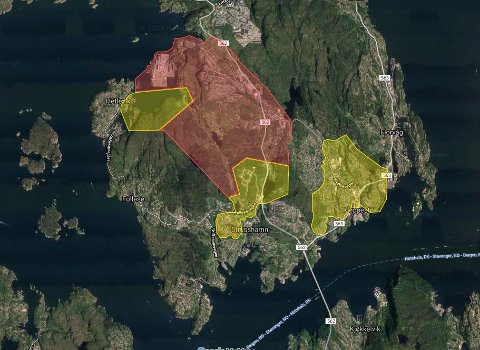 Gult område: Kokevarsel er planlagt opphevet 5. september 2019 Rødt område: Kokevarsel er planlagt opphevet 16. september 2019