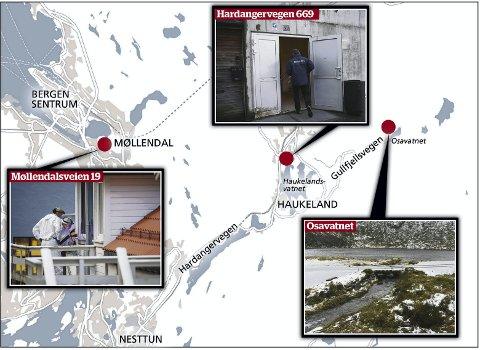 Her er de tre stedene som politiets kriminalteknikere særlig har fokus på: Møllendalsveien ved Bergen sentrum, Hardangervegen i Arna og Osavatnet ved Gullfjellet der de to drepte ble funnet.