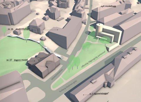 Illustrasjon av forslag til ny moske i Jekteviksbakken.