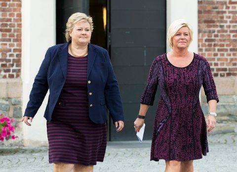 STATSBUDSJETT: Statsminister Erna Solberg og finansminister Siv Jensen. Foto: Berit Roald / NTB scanpix