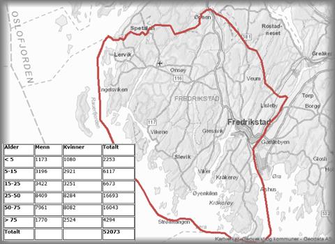 Vel 52.000 av 80.000 innbyggere i Fredrikstad bor innenfor den røde streken som markerer skillet mellom handelsområdene Sentrum og Gressvik,  innenfor bomområdet, de som ligger utenfor. Tabellen viser hvordan disse er fordelt på aldergrupper.