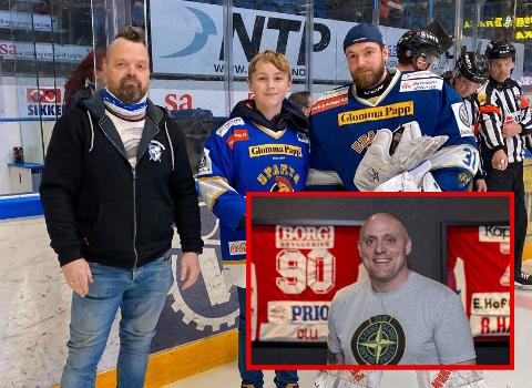 BLÅTT OG RØDT: Både Runar Sandsengen (innfelt) og Tomas Silden (i sort jakke) har klokkertro på sine lag foran kveldens is-derby.