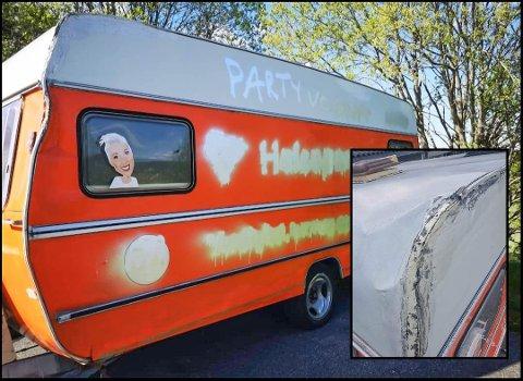 FIKK IKKE STÅ I FRED: Det nasjonale Helsepartiet opplevde å få campingvogna ødelagt under et besøk på Sørlandet. Kolleger i Sør-Odal tilbød seg å hjelpe.