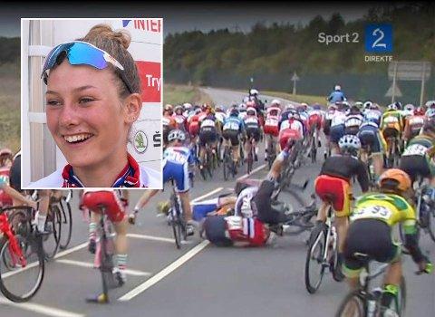 STYGG VELT: Her smeller Natalie Midtsveen i bakken under VM-rittet i Yorkshire i England, og får en rytter over seg. Skjermdump: TV 2,