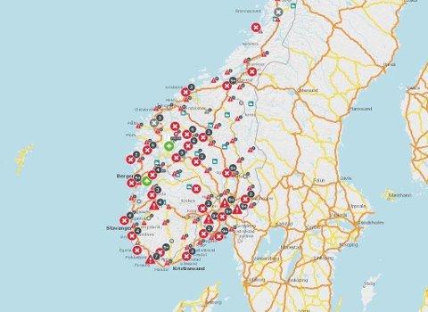 VEIMELDINGER: På Statens vegvesens interaktive kart kan du se de siste veimeldingene på din kjørerute.