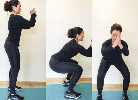 HJEMMETRENING ER ENKELT: Tips til øvelser du lett kan gjøre hjemme. Øvelse 5 er knebøy. Bøy i knærne og hoftene, sett deg så langt bak du klarer uten å bøye ryggen. 10 stk x 3 serier