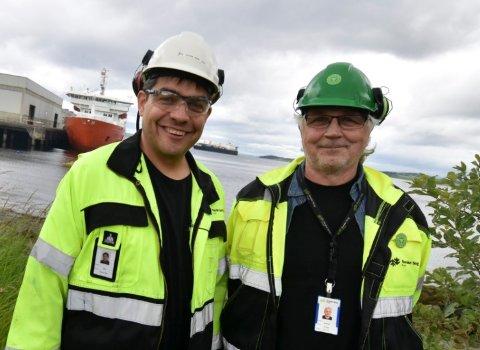 STYREMEDLEMMER: Svein Erik Veie (t.v.) og Frode Letnes er valgt til styremedlemmer i selskapet de begge jobber for, Norske Skog Skogn AS.