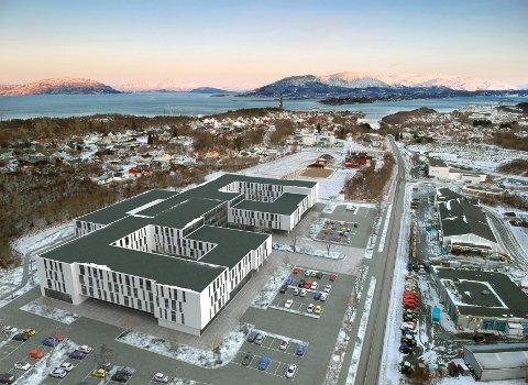 Slik vil et mulig nytt sykehus kunne legges og bygges på Karlsenmarka i Sandnessjøen.