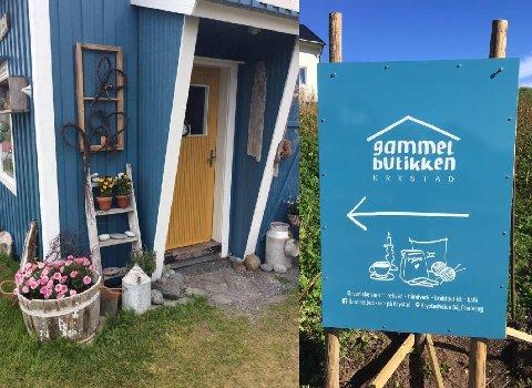 Gammelbutikken på Krystad har startet sommersesongen og har fått på plass ny logo og skilt for anledningen.