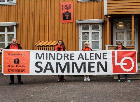 SAMARBEID: Kirkens Bymisjon og LO samarbeider om årets TV-aksjon. F.v.: Lars Ketil Froholt, Marianne Saltbones Lindboe, Cathrine Aasen Roksvåg og Britt Øyen.