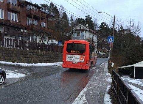 LJABRUVEIEN: Et av stedene Bydel Nordstrand og Ljan skole ønsker trafikktiltak er i Ljabruveien fra Mosseveien til Herregårdsveien, der det blant annet er smalt fortau. Arkivfoto: Nina Schyberg Olsen