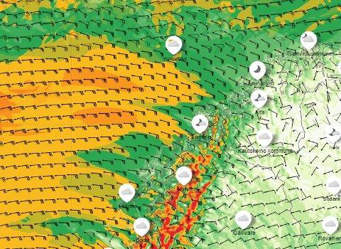 KAN BLI EKSTREMVÆR: Troms har havnet mellom et høytrykk i nord og lavtrykk i sør. Prognosene ligner situasjonen før tidligere kjente ekstremvær. Bildet viser varslet vind torsdag.