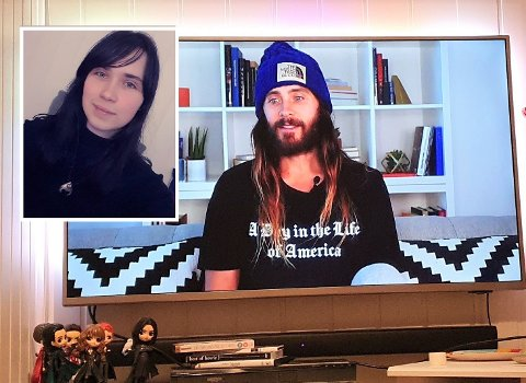 SNAKKET MED IDOLET: Karina Novoskavskaite (19) fra Vestre Toten snakket med selveste Jared Leto under en live-stream.
