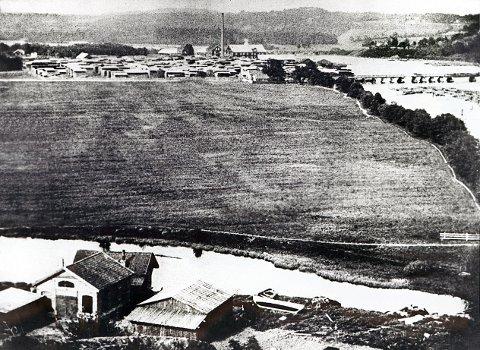 INDUSTRIPLANER. Øya og omkringliggende områder langs nedre av Lågen var i 1928 et av Norsk Hydros lokaliseringsalternativer for det kjempemessige industrianlegg, som til slutt kom til å bli liggende på Hærøya i Porsgrunn. Bildet, tatt omkring 1920, viser i forgrunnen litt av Ludvig Isachsens verksted, der alle hans banebrytende oppfinnelser ble til.