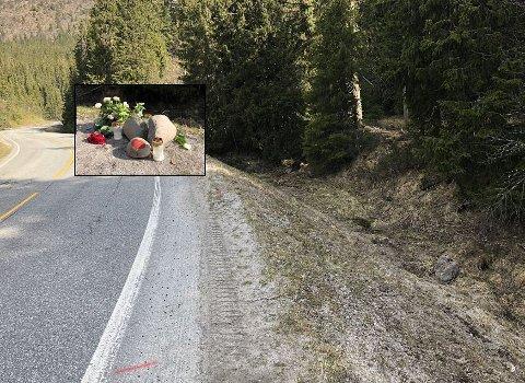 ULYKKESSTEDET: Dødsulykken på fylkesveg 30 skjedde i en sving nord for Tylldalen. Motorsyklisten kjørte nordover da ulykken skjedde. Foto: Eirik Røe (Arbeidets Rett)
