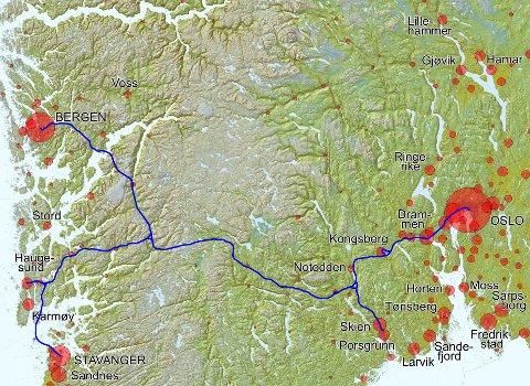 KORRIDOR: Den vedtatte stamveikorridoren E134 faller i store trekk sammen med planen for Vestlandsbanen Oslo-Stavanger, Haugesund  og Bergen (detaljert plan fra Norsk Bane 2008 samt korridor i høyfartsutredningen 2012). Nærliggende at vei- og baneetaten samarbeider? Kart: Norsk Bane AS
