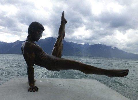 Bøylehest: Skulptur i Montreux, ved Lake Geneva.