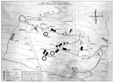 I mai 1945 fryktet hjemmestyrkene at de måtte nedkjempe de godt befestede tyske stillingene på Nedre Stasjon. Derfor ble det utarbeidet en detaljert angrepsskisse (foto NIA /Per Longum-samlinga)
