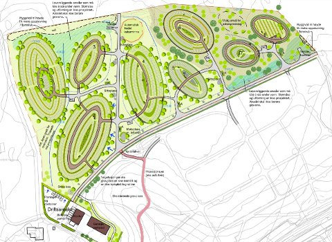 PLAN: Dette utsnittet av oversiktsplanen for gravplassutvidelsen viser hvordan gravområdene er tenkt lagt i ellipseform med parkområder mellom. Det hvite feltet nederst viser eksisterende gravplass. Ill.: Dovre Group