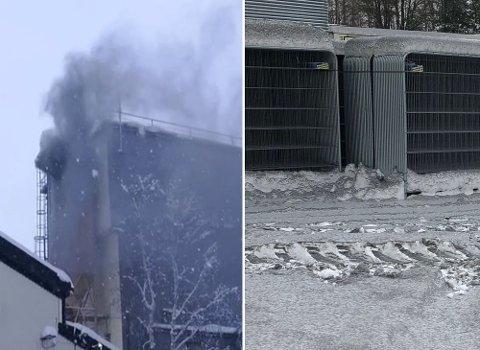 UTSLIPP: Store mengder pulver fosset ut av fabrikken etter et uhell. Til høyre ligger Mikrosilika over snøen.