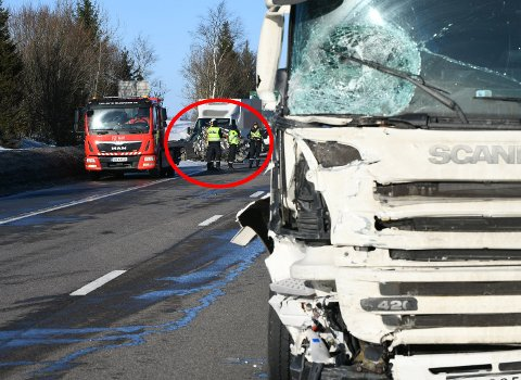 STORE SKADER: Den involverte personbilen i den ene ulykka på E6 har store skader. FOTO: VIDAR SANDNES