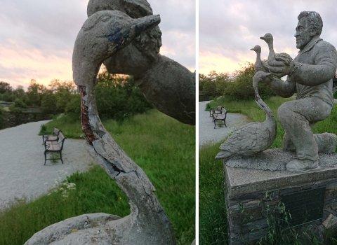 VOND HALS: Det er særlig svanens flotte hals som bærer preg av tidens tann.