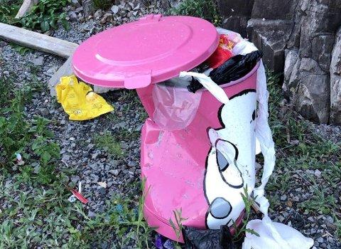 ØDELAGT: Søppeldunken fikk bare stå i fred i en måned på Linstå før den ble smadret.