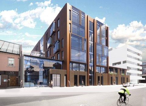 UTSATT: Koronasituasjonen forsinker ferdigstillelsen av Storgata 25, et nybygg som skal huse Eurospars nye Matservice-butikk.