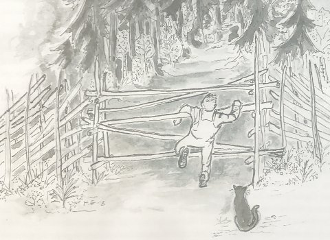 STARTEN:Gutt som klatrer gjennom leet på sin første sti, tegnet av Halvor Gundersen i boka «Langs gamle stier».