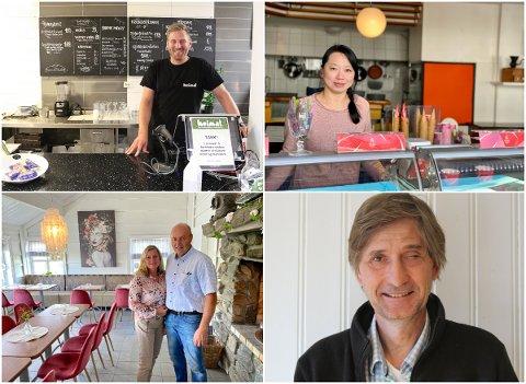 (Øverst til høyre) Tommy Jørgensen på Heimat, Chin Zhang på Brasseriet, Ingunn og Espen Engebretsen på Jegertunet og  Uwe Arntzen i Aktive Fredsreiser fikk alle støtte av det regionale næringsfondet.