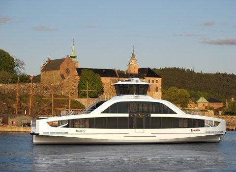 ELEKTRISK: Den første elektriske øybåten settes ut på sjøen 1. november i år.