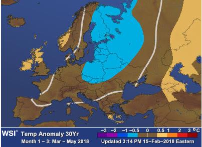 Dette temperaturkartet er et uttrykk for snittet over de tre månedene mars, april og mai. Derfor viser det nokså normale forhold over Skandinavia. Men varslene tyder på iskald mars, og betydelig varmere april og mai. Foto: Kart: The Weather Company