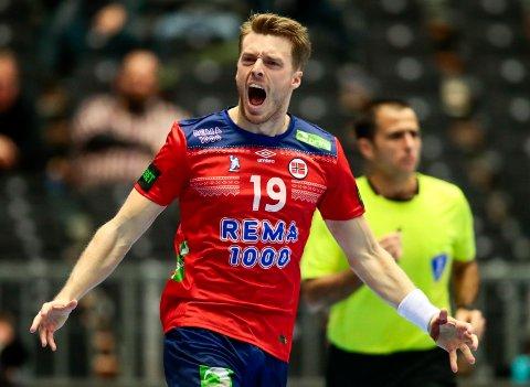 Kristian Bjørnsen jubler etter å ha scoret i kampen mot Egypt. Mandag venter en rysare mot svenskene.  Foto: Lise Åserud / NTB scanpix