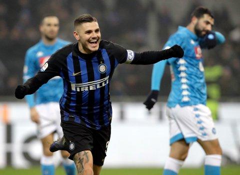 Målmaskinen Mauro Icardi blir trolig sentral for Inter i kveldens Coppa Italia-kvartfinale hjemme mot Lazio.  (AP Photo/Luca Bruno)